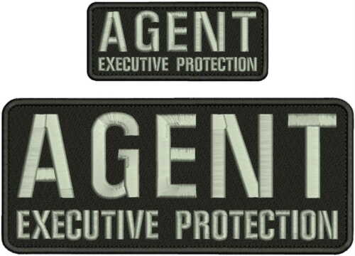 AGENT EXECUTIVE PROTECTION EMBROIDERY PATCH 4X10 AND 2X5 HOOK ON BACK BLK/SILVER