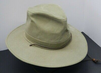 Henschel Hat Co Gray/Green Canvas Aussie with Snap-Up Brim Chin Strap Small USA