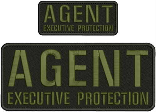 AGENT EXECUTIVE PROTECTION EMBROIDERY PATCH 4X10 AND 2X5 HOOK ON BACK BLK/od gre