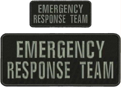 EMERGENCY RESPONSE TEAM EMBROIDERY PATCH 4X10 AND 2X5 HOOK ON BACK BLACK/GRAYlet