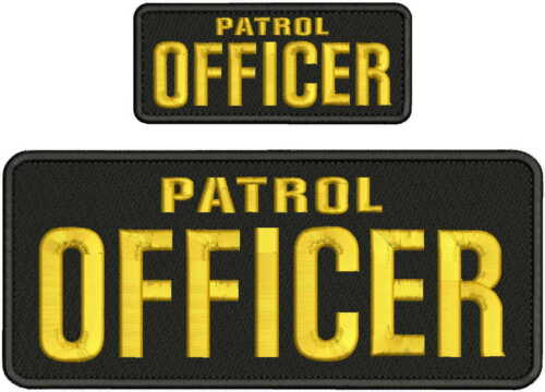 PATROL OFFICER EMBROIDERY PATCH 4X10 & 2X5 HOOK ON BACK  BLK/GOLD
