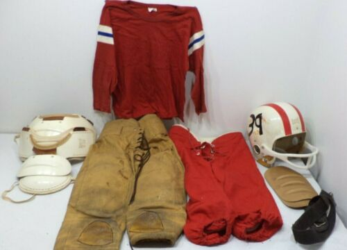 Vintage 1950s HUTCH FOOTBALL OUTFIT  CHILDS HELMET SHOULDER PADS PANTS PADS RED