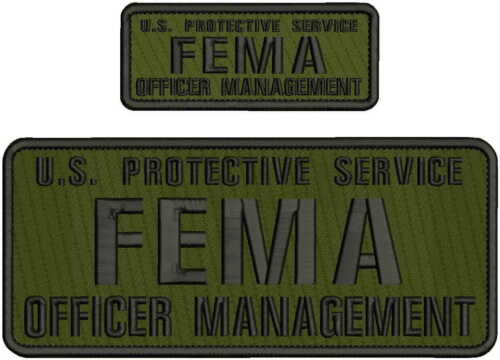 U.S. PROTECTIVE SERVICE FEMA O M EMB PATCH 4X10 & 2X5 HOOK ON BACK OD/BLK