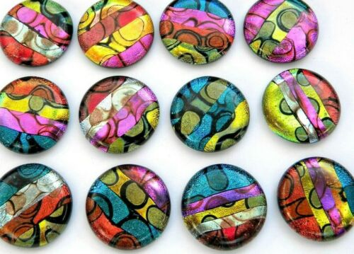 12 pcs CIRCLE DICHROIC FUSED GLASS for pendant (A7) CABS MOSAIC TILES KNOBS
