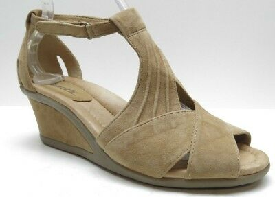 - Earth Brown Suede Leather Ankle Strap Platform Wedge Sandals Heels 8.5D 8.5 Wide
