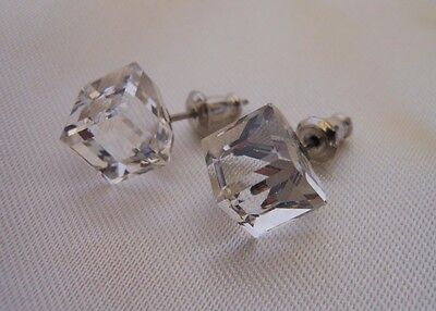 HYPOALLERGENIC Tilted Cube Stud Earrings Swarovski Elements Crystal Clear  Large ()