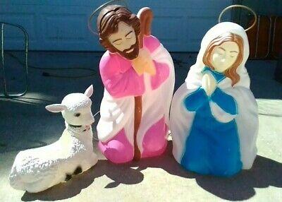 Vintage christmas large Empire Nativity Set Mary & Joseph Blow Molds with lamb