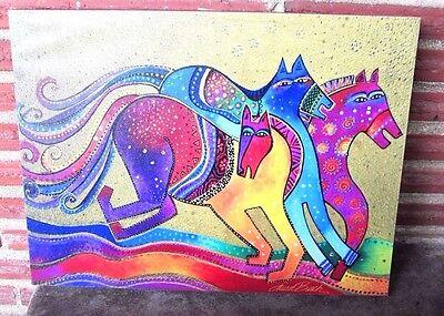 "Westland Gifts Laurel Burch Dancing Horses Canvas Wall Art #26007 16""x 12"" New"