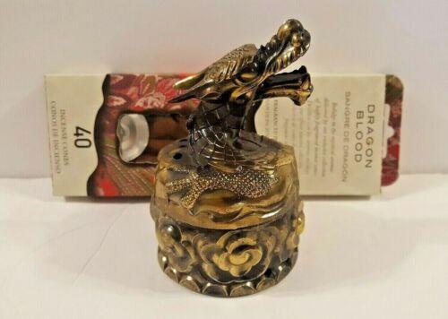 Vintage Bronze DRAGON Incense Burner Bowl w/ Dragon Blood Incense, Made in JAPAN