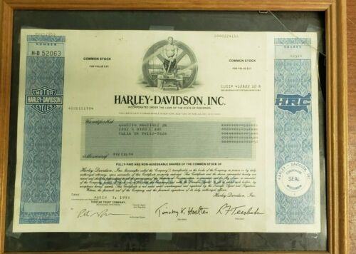 Harley Davidson Original Stock Certificate