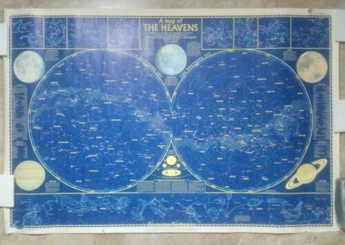 "1957 NATIONAL GEOGRAPHIC ""A Map Of The Heavens"" Astronomy Map Chart 28"" x 42"""