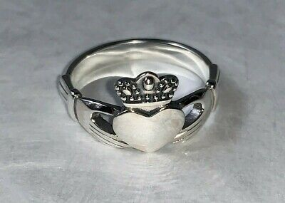 - Solid Sterling Silver 925 Irish Claddagh Ring Heart Crown Hands Friendship Love