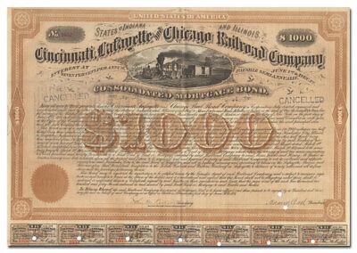 Cincinnati, Lafayette & Chicago Railroad Bond Certificate Signed by Adams Earl