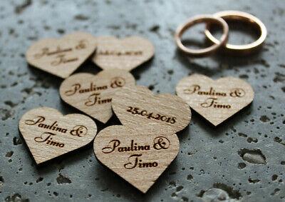 50 Holz-Herzen - Wunschnamen + Datum - Streudeko Tischdeko Hochzeit Valentinstag (Hochzeitstisch Dekoration)