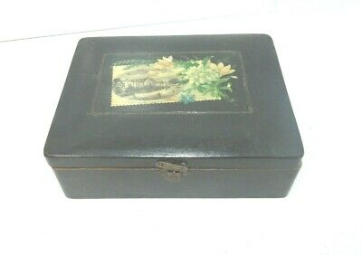 ANTIQUE MAUCHLINE BLACK FLORAL TRANSFER WARE BOX HIGH-GATE HAWKHURST KENT