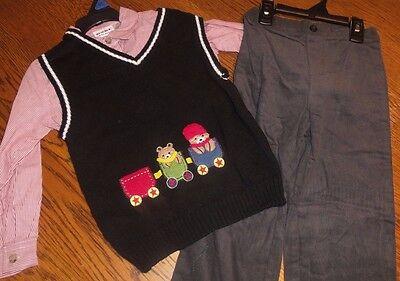 Sz 12 M Boys Blueberi Boulevard 3 Pc Holiday Sweater Vest Set Teddy Bear Train