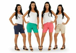 Ladies-Turn-Up-Shorts-Summer-Navy-Beige-Womens-Hot-Pants-Green-Pink
