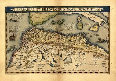 Large A1 North Africa Morocco Tunisia Libya Egypt Old Antique Map by Ortelius