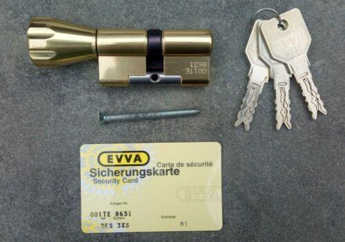 EVVA 3KS Lock Euro Profile Cylinder 32.5/32.5 Thumbturn with Keys and Card   New