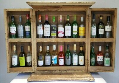 Antique painted pine wine bottle storage cupboard drinks cabinet, upcycled GWR
