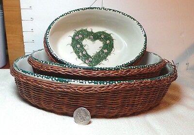 Nesting Casserole Bowls, Oval, Stoneware, Each In Rattan Basket, Kitchen Decor Oval Nesting Bowls