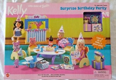 1999 KELLY BARBIE LITTLE SISTER SURPRISE BIRTHDAY PARTY PLAYSET NRFB NEW