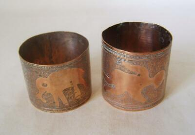 Two African Copper Napkin Rings: Hand Decorated with Ostrich, Elephants & People