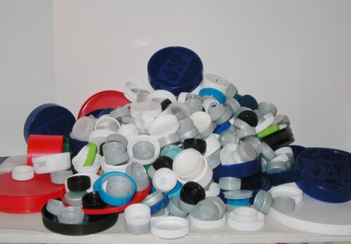 3 pounds Craft Lids Caps Tops Variety of Sizes Multi Colored Recycled Supplies
