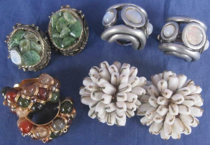 4 pair VINTAGE Clip-On Earrings MOP Jade Green White Silver Gold Tone Pretty Lot