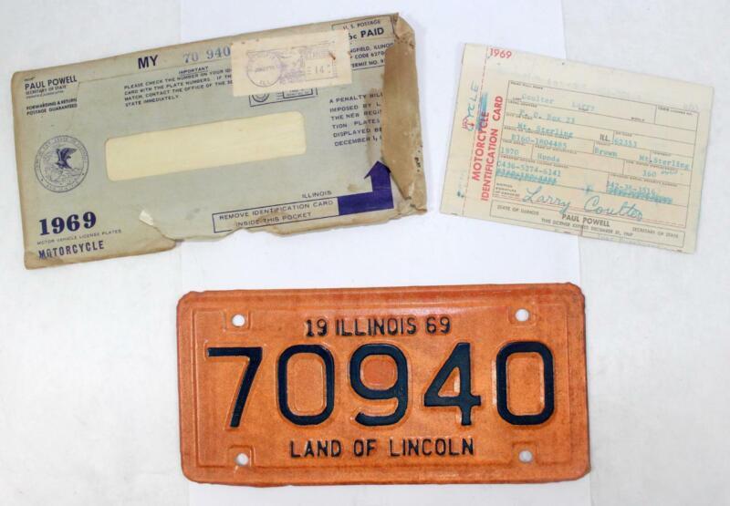 Rare 1969 Illinois Motorcycle License Plate w/ Envelope ~ 70940