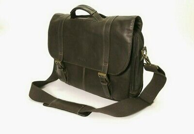 Samsonite Messenger Bag Leather Flap Over Adjustable Padded Shoulder Strap Brown