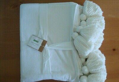 Pottery Barn Oversized Pom Pom Throw Thin Decorative Blanket 55 X 80 New!