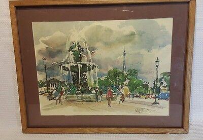 VTG Framed print ''City by the Fountain'' street scene  Artist signed 20''x16''
