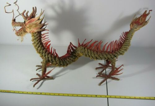 Large Vintage Dragon Figurine Handmade from Chiang Mai Thailand, Asian Mythology