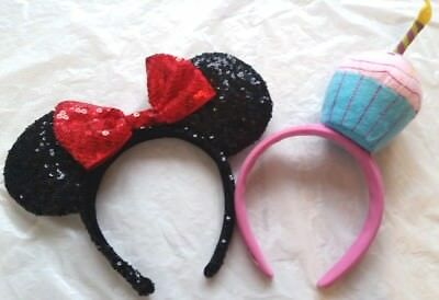Disney Parks Store Minnie Mouse Headband Sequin Dress Up Black Red.CUPCAKE lot 2 - Cupcake Headband
