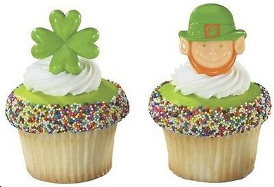 12 Leprechaun & Shamrock  Cupcake Rings Topper Irish Green Saint (Irish Topper)