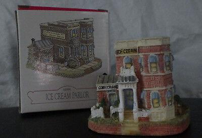 "LIBERTY FALLS~""ICE CREAM PARLOR"" AH96~WESTERN CHRISTMAS SNOW VILLAGE FIGURE"