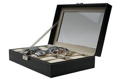12 Slot Leather Watch Box Display Case Organizer Glass Top Jewelry Case w/ Lock