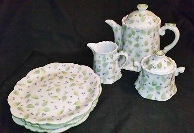 Andrea by Sadek Porcelain TeaPot Set w/ Creamer Sugar Bowl Snack Plates 9 piece