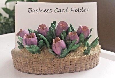 Business Card Holder Display Ceramic Flowers