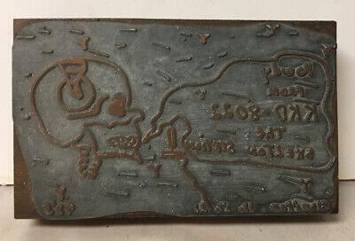 Vtg Metal Wood Letterpress Printing Block Kkd-8066 Skeleton Radio Station Advert