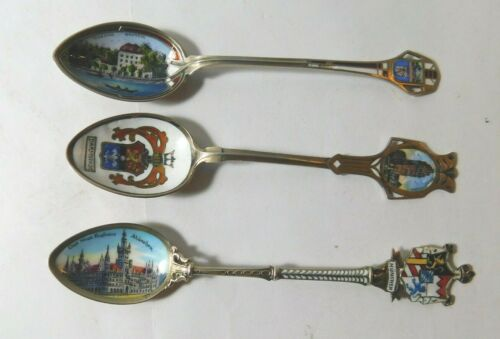 Lot (3) .800 Silver Spoons with Enameled Bowls - DARMSTADT  TEICH HAUS  MUNCHEN