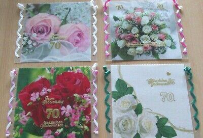 4 wunderschöne WINDLICHTER zum 70. Geburtstag Dekoration Blumen - NEU + 1 GRATIS
