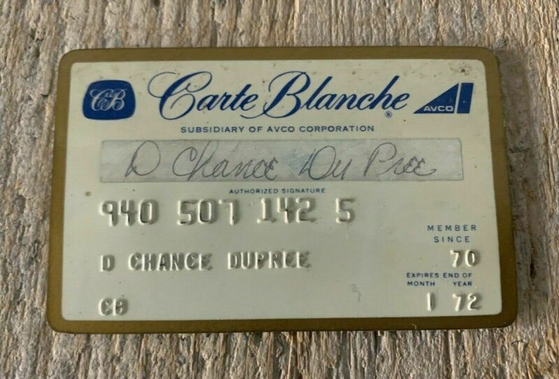 Carte Blanche Credit Card ~ Vintage ~ Exp. January 1972