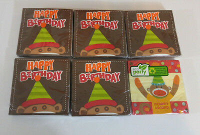 Sock Monkey Happy Birthday Napkins Lot of 6 Packs Beverage Paper Party  - Sock Monkey Birthday Party