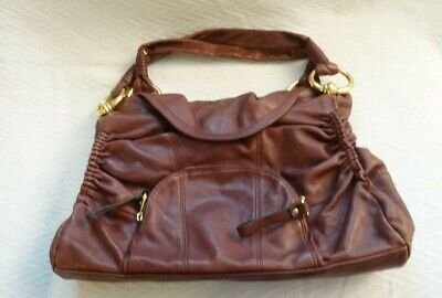 B. MAKOWSKY Leather Flap Ruching Handbag Shoulder Bag Large Purse in Maroon Used