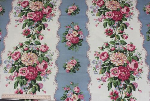 Lovely Vintage Mauve & Pink Rayon Faille Home Floral Fabric c1938~Blue Ground