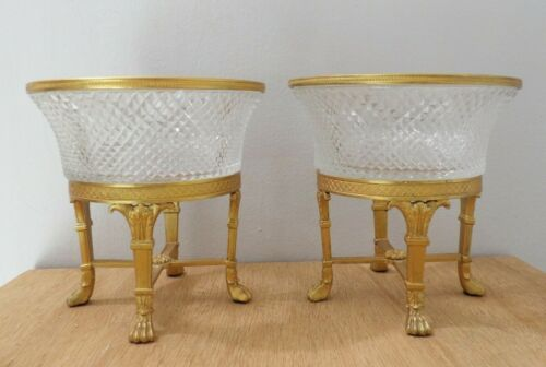 Pair 2 Antique French Empire Gilt Bronze Napoleonic Crystal Bowl Austrian 1890