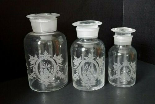 Set Of 3  Victorian Apothecary Etched Glass Bottles Jars Glass Stopper Lids