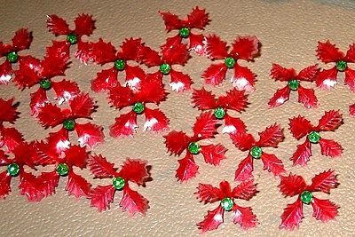 25 RARE Holly Poinsettia Light Bulbs for Ceramic Christmas Tree Red Green